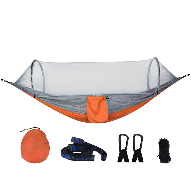 Portable Double Hammock Easy Set Up Hamak 290x140cm With Wind Rope Nails Portable For Camping Travel Yard Tree Tent Sleeping Bed