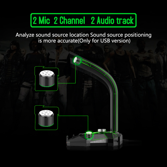 Dynamic Wired Microphone 5V DC USB Studio Gaming 360 Omnidirectionnel Notebook PC
