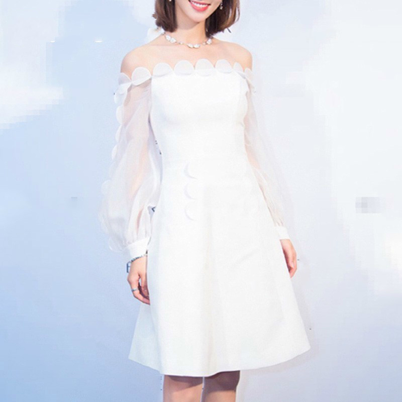 2019 Spring Patchwork Petal Tulle Dress For Women Slash Neck Lantern Sleeve Slim Dresses Elegant Clothes New R168