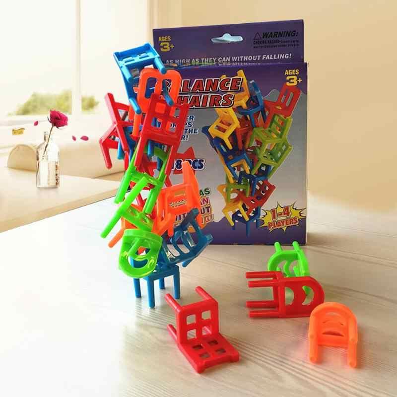 18 шт./компл. многоцветные пластиковые балансные игрушки обучающая игра балансировка Обучающие игрушки укладки стульев для детских столов игры, игрушки