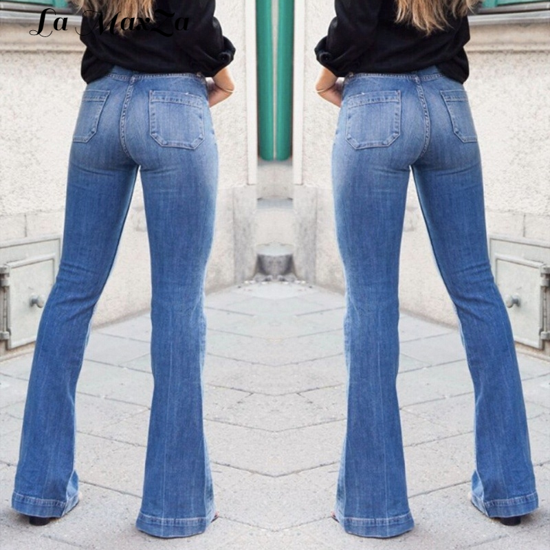 Casual Office Lady Flare Jeans for Women Fashion Stretch