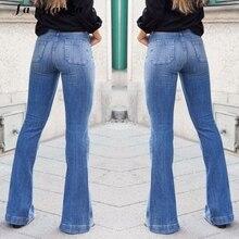 Casual Oficina vaqueros para mujeres de moda elástico de pierna ancha  cintura alta pantalones vaqueros Vintage Denim Pantalones . c6dcf73f7094