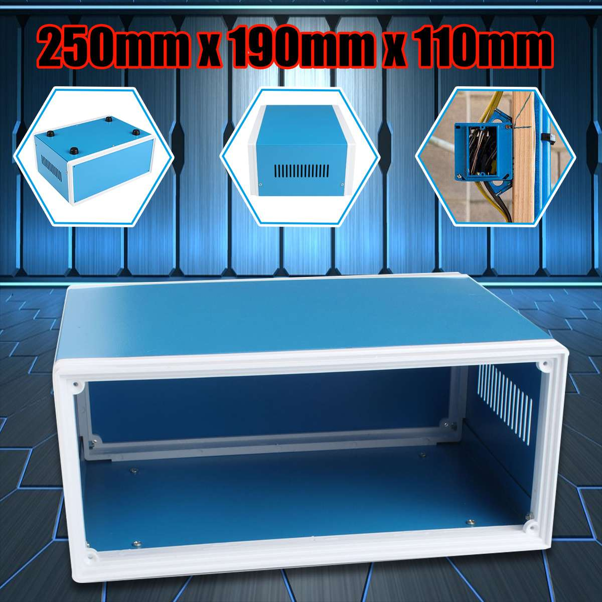 250x190x110mm metalowa obudowa Case elektroniczny projekt płytka PCB obudowa na urządzenie w Nawijarki kabli od Elektronika użytkowa na title=