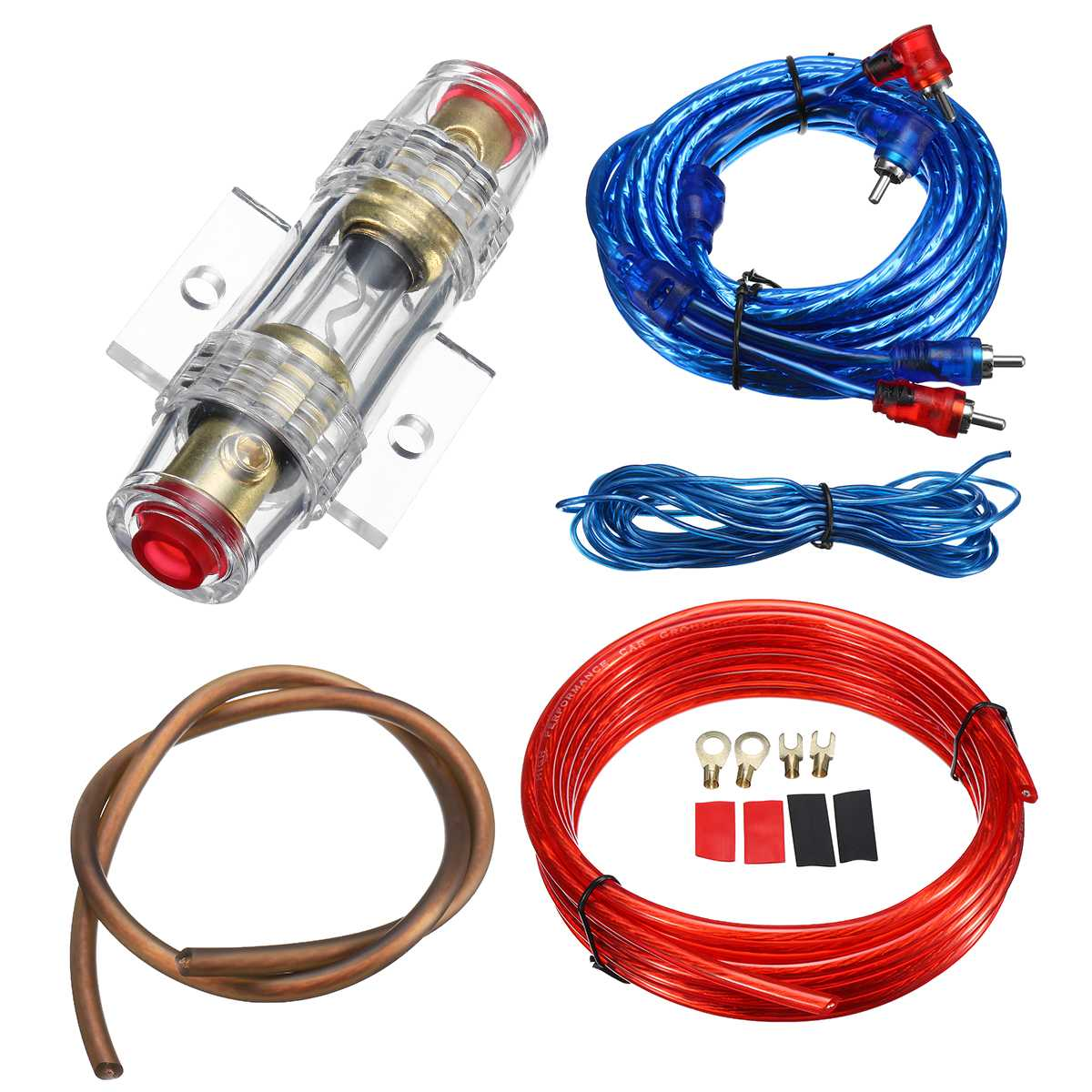 medium resolution of 1500w car audio speakers wiring kits cable amplifier subwoofer speaker installation wires kit 8ga power cable 60 amp fuse holder in speaker line from