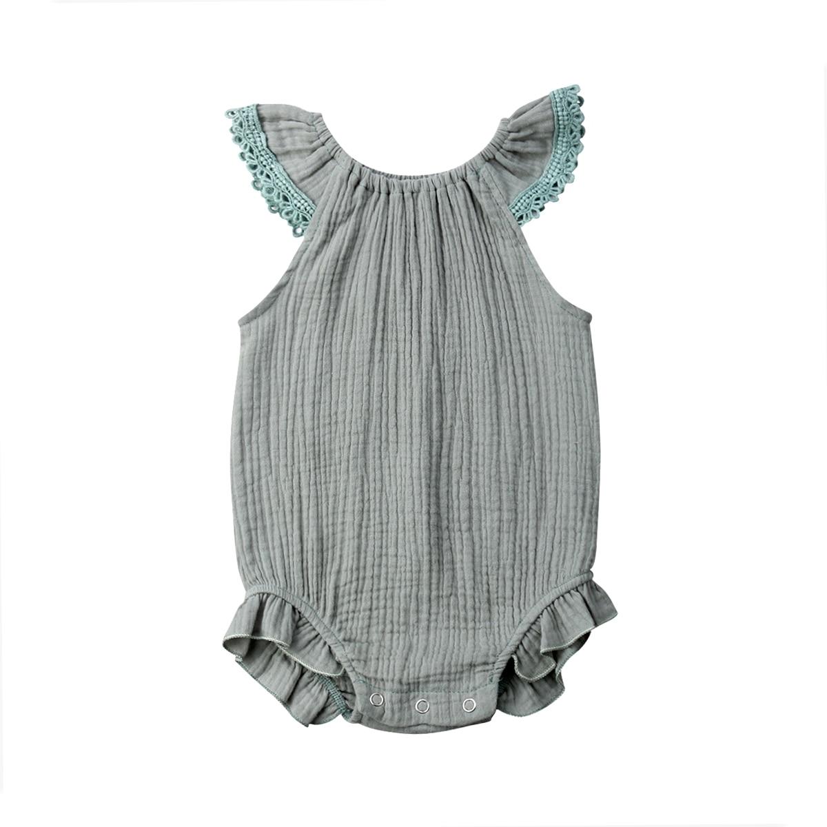 0-18 M Neugeborenen Baby Mädchen Ärmel Einfarbig Baumwolle Romper Overall Outfits Sommer Kleidung