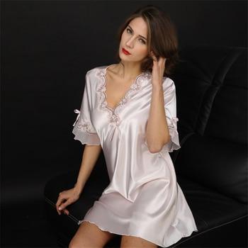 Women Sexy Silk Satin Night Gown Short Sleeve Nightdress Lace Sleep Dress V-neck Nighties Night Shirt Sleepwear Nightwear lace panel lantern sleeve nightdress