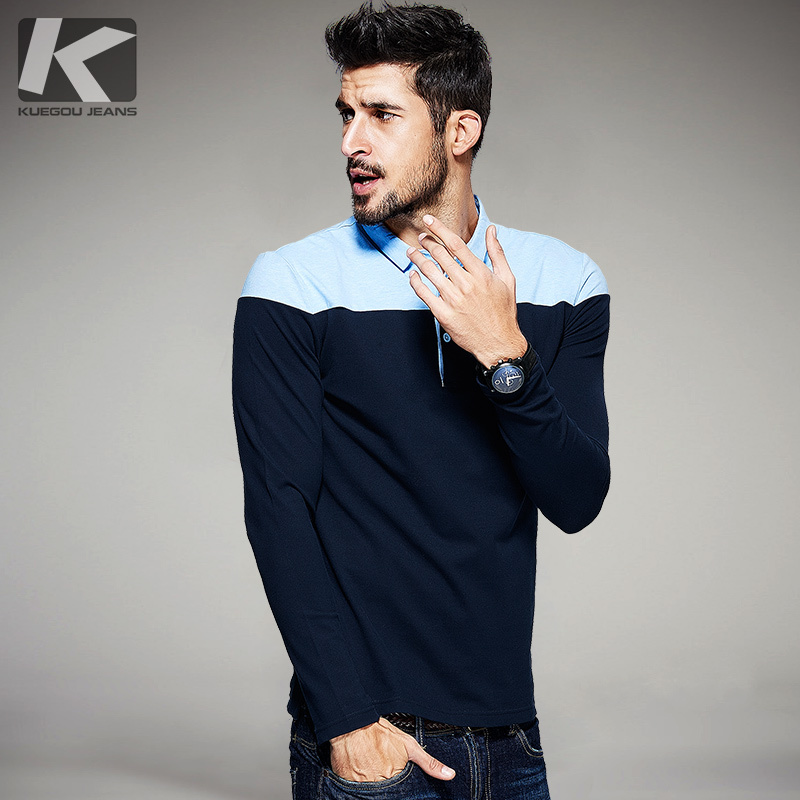 Autumn Mens   Polo   Shirts Cotton Contrast Blue Color For Man's Long Sleeve New Fashion Brand Clothing Male Wear Slim Clothes 1638