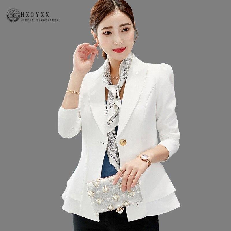 Elegant Ruffles Hem Basic Jackets Woman Suit Blazer Feminino 2019 Spring Summer Solid One Button Office Bussines Coat Okd794