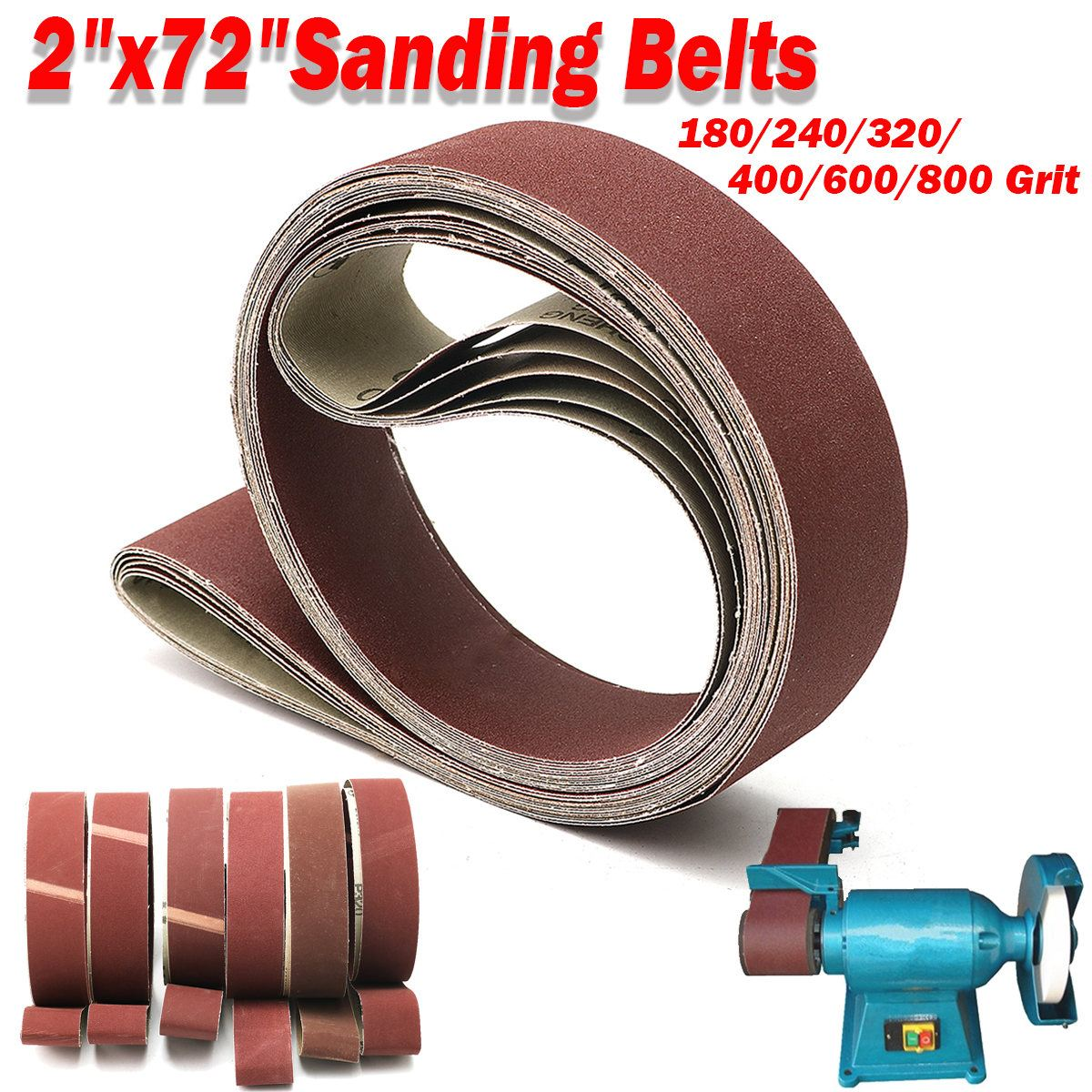 6pcs Sanding Belts 180 240 320 400 600 800 Grit 2