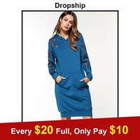 Dropship Streetwear Autumn Blue Long Sleeve Patchwork Dress 2018 Women Hoodies Sweatshirts Dress Casual Embroidered Solid Dress