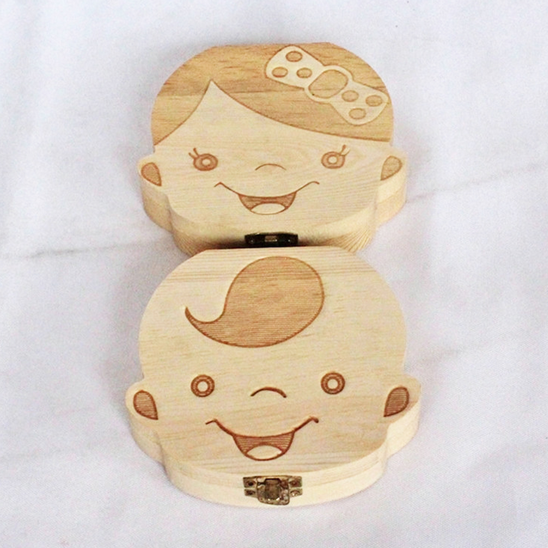 Organizer Milk Tooth Storage Box For Boy Girl Save Teeth Umbilical Cord New English Wooden Baby Tooth Box Love