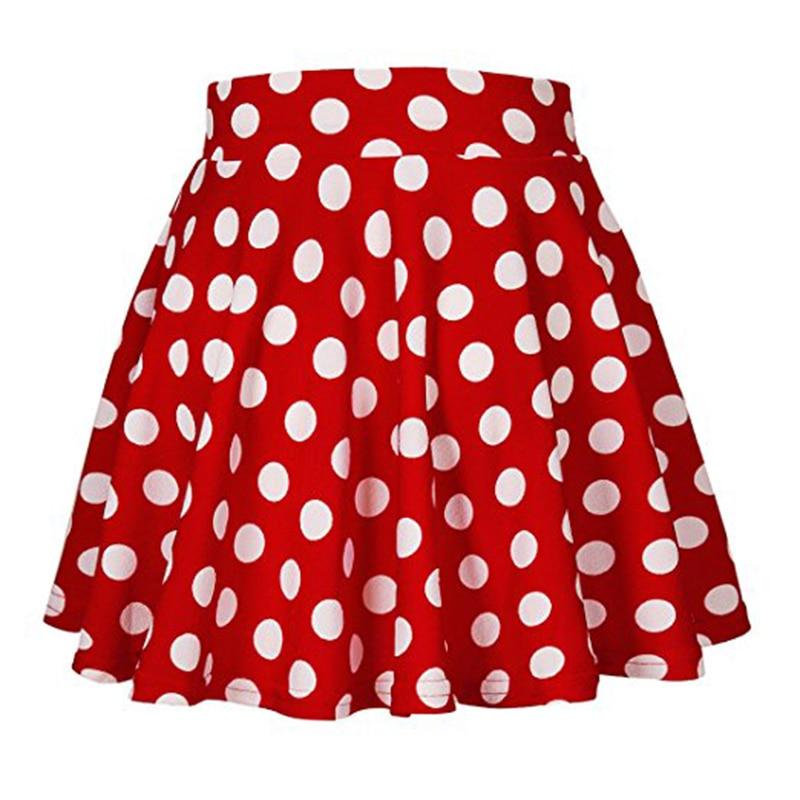 Summer Casual Girl High-waist Polka Dot Print Mini Big swing Skirt  Women Evening Party Short Skirts