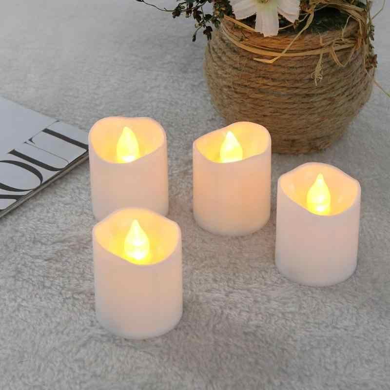 12pcs/set Warm LED Candle Light Flickering Tea Light Bulb Flameless Fake Candle Festival Wedding Celebration Decoration White