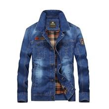 Brand clothing Winter Pilot Mens Denim Jacket Casual Fashion Men Bomber Baseball Jackets Jean Chaqueta Hombre M-4XL