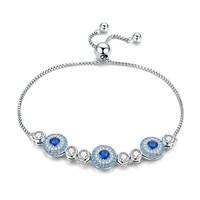 Authentic 925 Sterling Silver Lucky Eye Blue Eye Tennis Bracelets for Women Sterling Silver Jewelry Gift SCB088 BAMOER