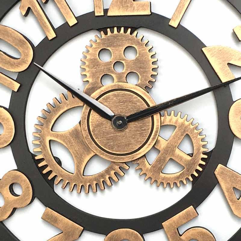 LUDA horloge 3D rétro rustique Vintage en bois 23 pouces silencieux engrenage horloge murale numéro antique or - 3