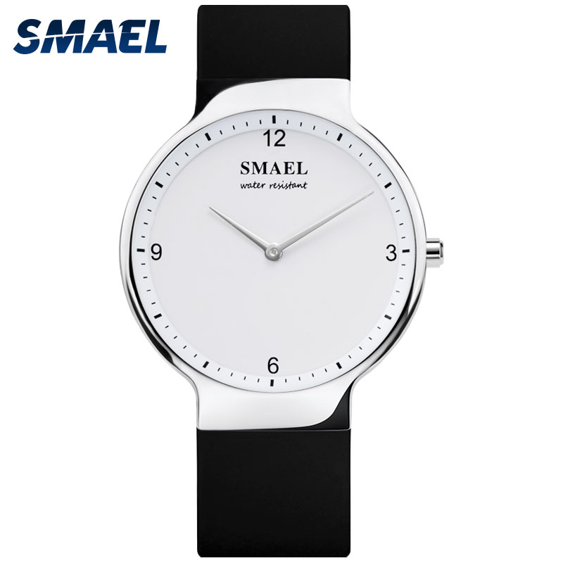 SMAEL Couple Watch Clock Women Quartz Silicone Waterproof with Date 1835gold