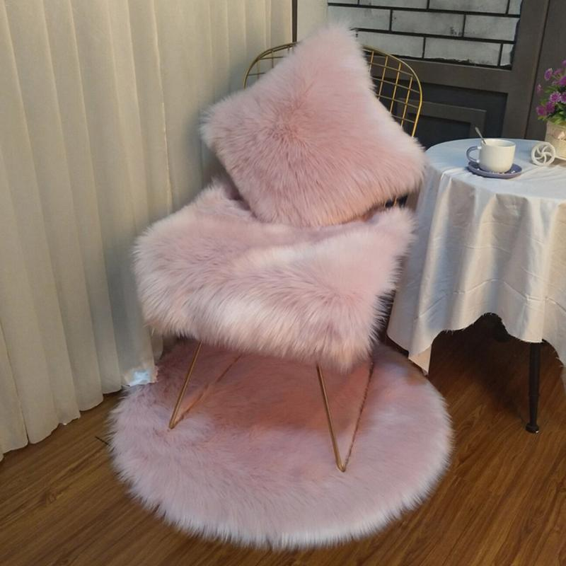 Soft Plush Rabbit Fur Pillow Home Faux Fur Fleece 45*45cm Square Decorative Throw Pillow Cover For 2018 Christmas(China)