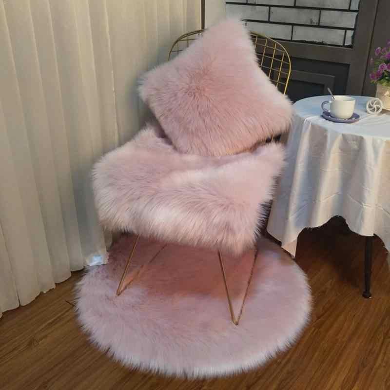 Weiche Plüsch Kaninchen Fell Kissen Hause Faux Pelz Fleece 45*45cm Platz Dekorative Wurf Kissen Abdeckung Für 2018 weihnachten