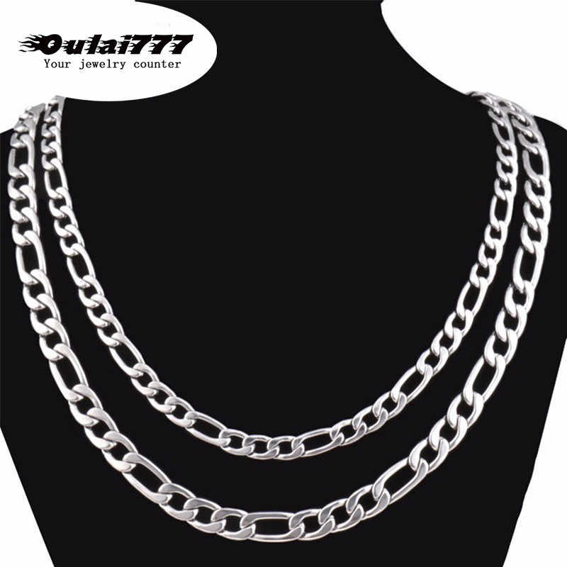 2019 Stainless Steel Hip Hop Men Necklace gifts Women men's pendant Decoration on The Necklaces Male Figaro Chain long jewerly