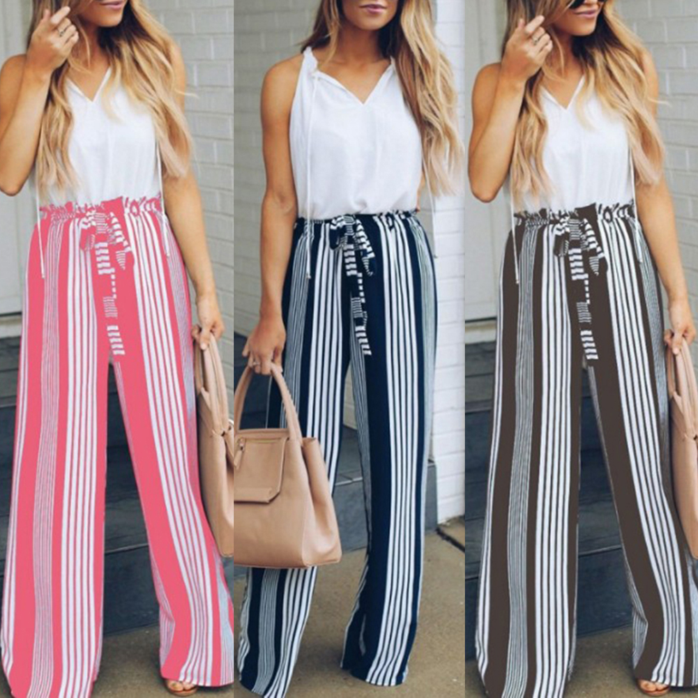 women Summer beach high waist trousers Split striped lady wide leg   pants   Chic streetwear sash casual   pants     capris   female