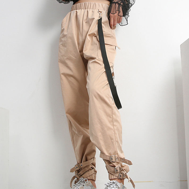 Girls Hip Hop Streetwear Khaki Casual Cargo   Pants     Capris   Women Elastic High Waist Black Joggers Buttons Fashion Long Trousers
