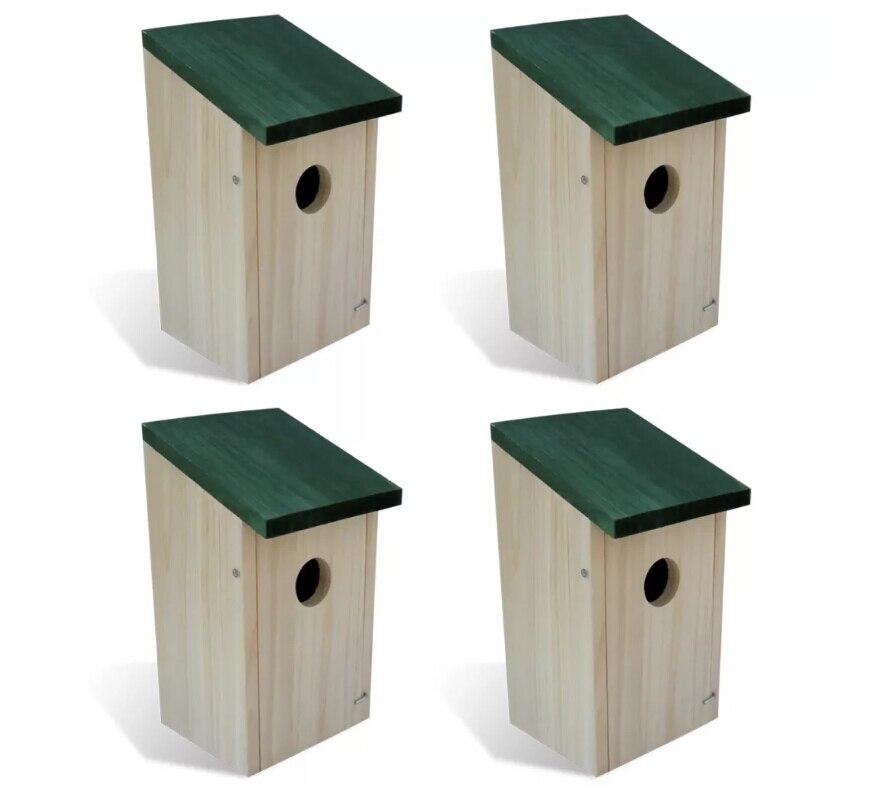 VidaXL 4 pièces Cages à oiseaux de jardin en bois nids ensemble maison à oiseaux boîte en bois mural en bois extérieur nid d'oiseau nichoir en bois boîte