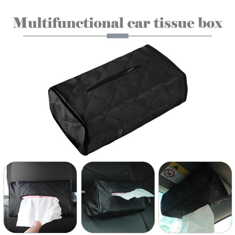 PU Leather Tissue Box Car Multifunctional Napkin Papers Container Holder Universal Car Armrest Seat Back Tissue Case Origanizer