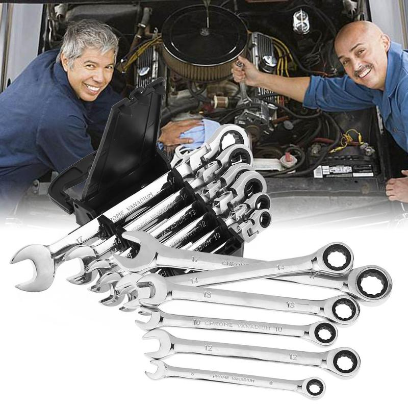 6Pcs/set Wrenches Two Head 72 Teeth Activities Ratchet Gears Wrench Set Flexible Open End Wrenches Repair Tools wrench