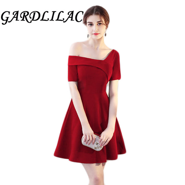 7065d9a5392 Gardlilac One-Shoulder Dark Red Stain Bridesmaid dress Short Wedding Party  Dress Prom Dress Black