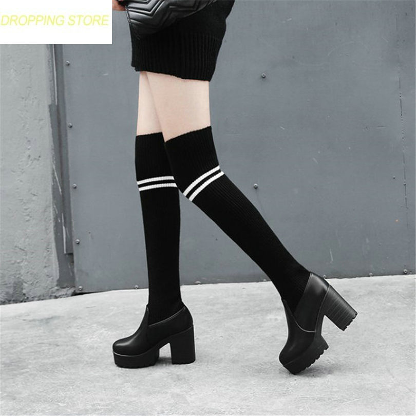 Women Black Stretch Long Over The Knee Boots Knit Stocking Thigh High Riding Boots High Heel Winter Pumps Shoes black stretch fabric suede over the knee open toe knit boots cut out heel thigh high boots in beige knit elastic sock long boots
