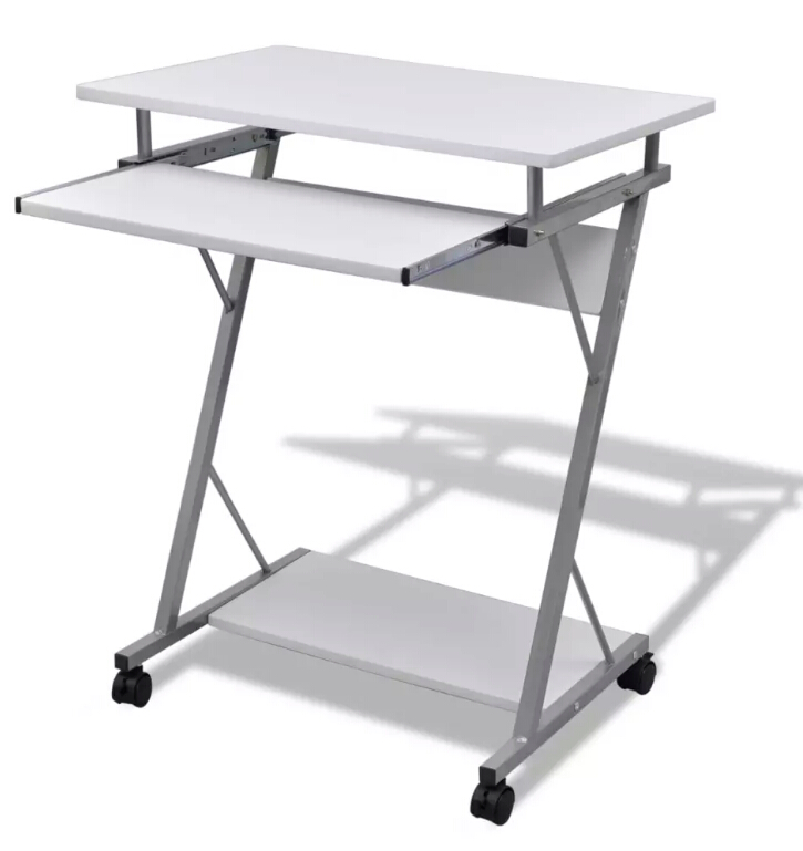 Computer Study Folding Wood Table Desk Pull Out Tray White Furniture Office Student Table Notebook Laptop Stand Bedside Desk