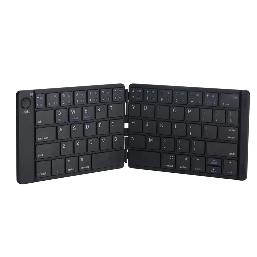 Rechargeable Leather Tablet Accessories Portable Folding Bluetooth Keyboard Wireless Keypad for Android IOS Windows iPad Tablet