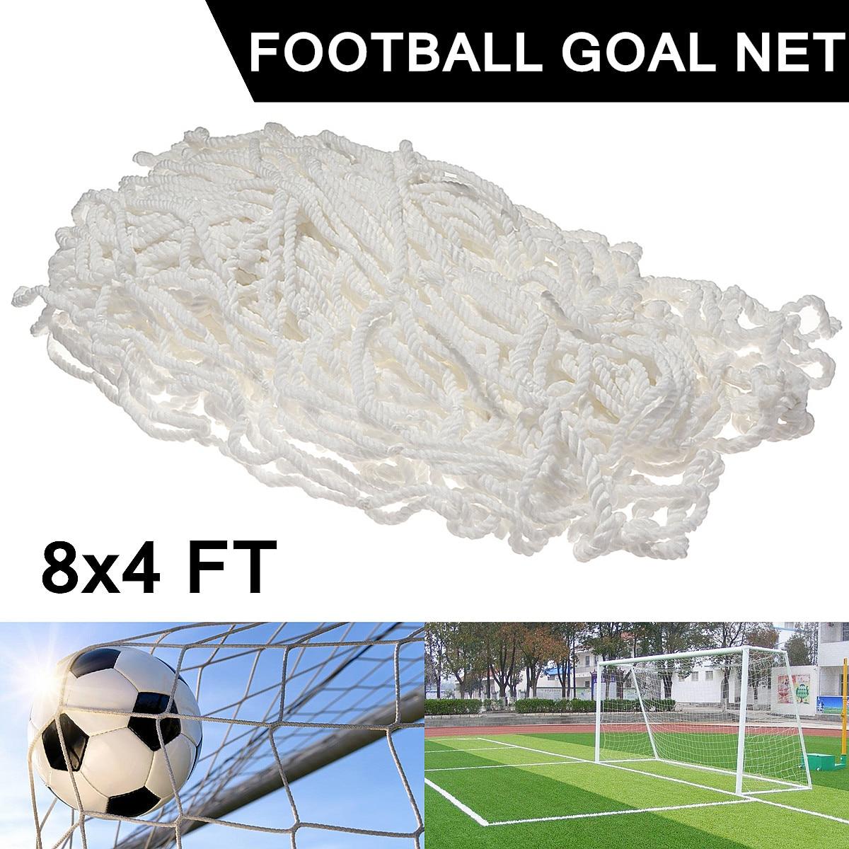 8x4FT Full Size Formazione Partita di Calcio di Calcio Goal Post Net Per Gli Sport All'aria Aperta Flessibile In Polipropilene Bianco Annodato Doppio