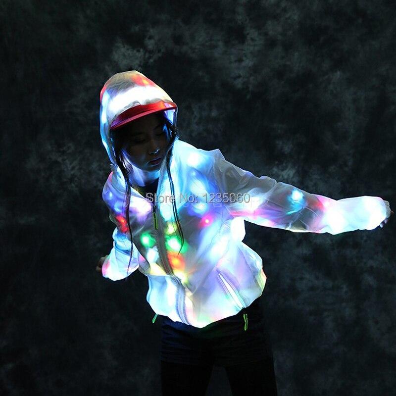 LED Luminous Coat Lady Bar Dance Show Nightclub Clothes Jacket Coat, LED DJ Costumes. Christmas, Halloween Party, Cospaly Suit
