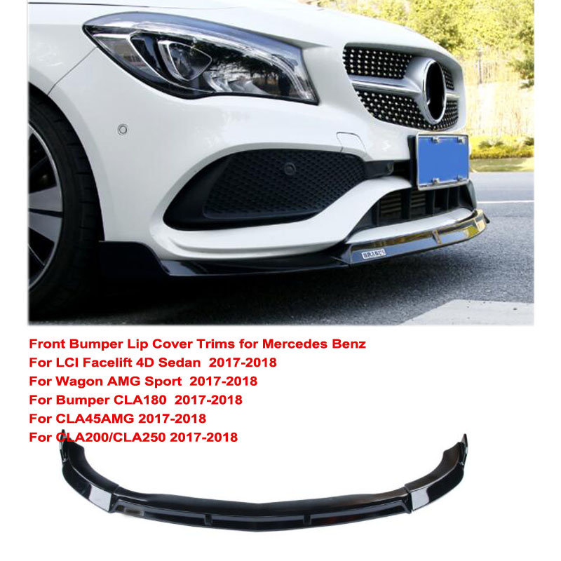 Front Lip Cover Trims For Benz W117 LCI Facelift 4D Sedan Wagon AMG Sport CLA200 CLA250