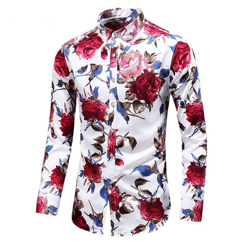 US Fashion Floral Men Shirts Plus Size Flower Printed Casual Camisas Masculina Black White Red Blue Male Shirts