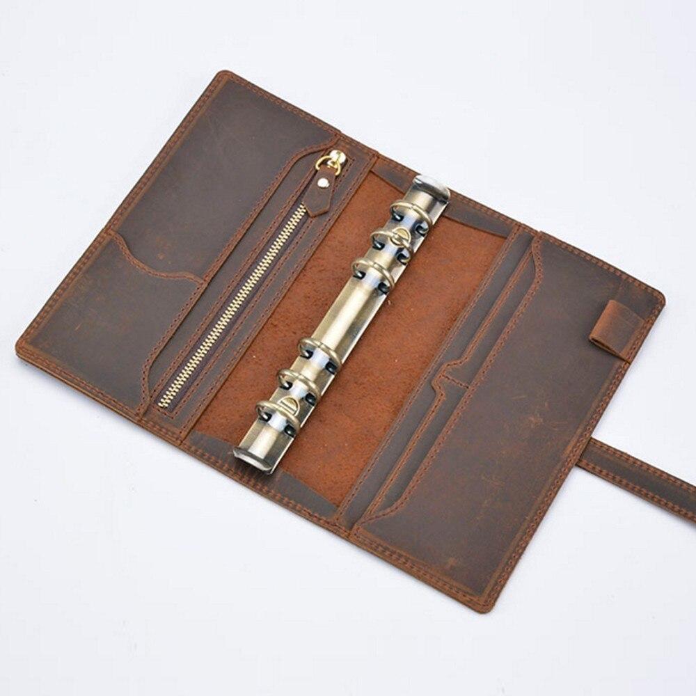 Handnote Vintage en cuir véritable carnet de notes Journal de voyage planificateur carnet de croquis Agenda bricolage recharge papier école cadeau d'anniversaire - 2