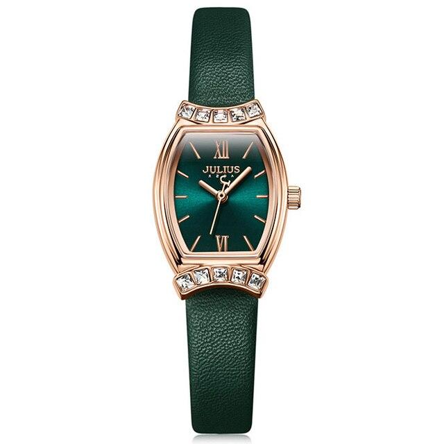 New Julius Women's Watch Japan Mov't Lady Hours Fine Fashion Dress Bracelet Real Leather Rhinestones Girl's Birthday Gift Box