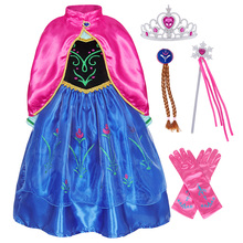 AmzBarley Toddler Girls Anna Princess Dress with cloak Cosplay Costume for birthday Party Outfit Children Gown