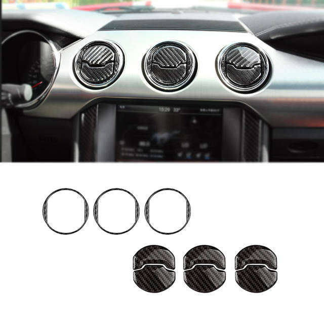 For Ford Mustang 2015 2016 2017 Carbon Fiber Interior Center Console Air Conditioning Air Vent Outlet Cover Trim