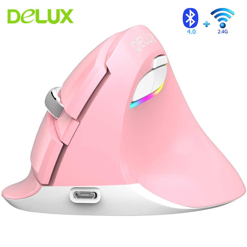 Delux M618 Mini Ergonomis Vertikal Mouse Bluetooth 4.0 + 2.4G Wireless Dual Mode Mouse Isi Ulang USB Optical Pink Gaming tikus