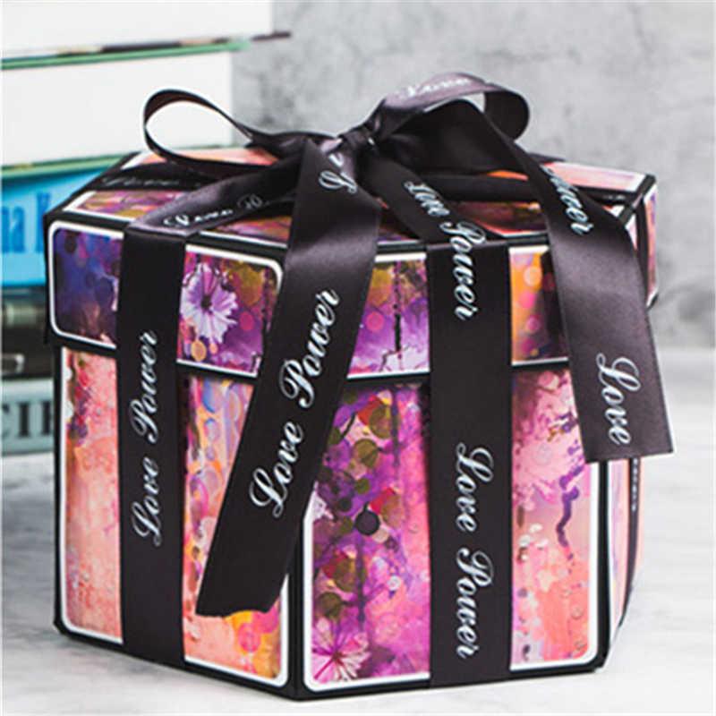 Creative 15x15x15cm DIY Surprise Love Explosion Box Gift For Anniversary Scrapbook Photo Album Birthday