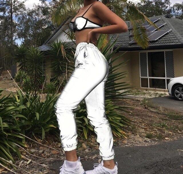 Dropshipper Reflective Hip Hop Pants Women Joggers Sweatpants Women's Night Light Shiny Blink Long Pants Sports Running Pants 3