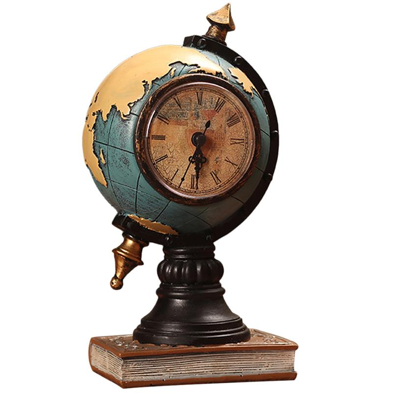 Desktop Ornament Vintage Clock Globe Model Clock Home Living Room Cabinet Porch Seat Clock Office Decorations Ornaments