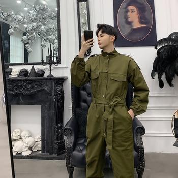 2019 Men's New Style Black/green Color Overalls Jumpsuit Rompers Harem Casual Pants Show High Waist Tie Trousers Plus Size M-2XL