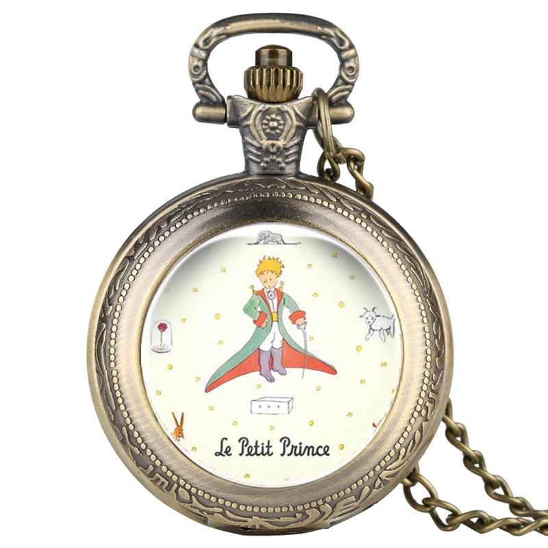 The Little Prince Fairy Tale Quartz Pocket Watch Rose Fox Elefant Cover Pattern Fob Clock Watch Necklace Gifts For Children Boys