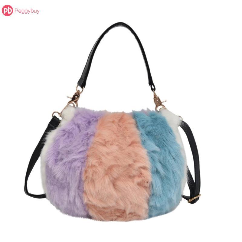 1 Stücke Frauen Schulter Taschen Plüsch Knödel Stype Handtasche Casual Mädchen Umhängetasche 23*20*10 Cm
