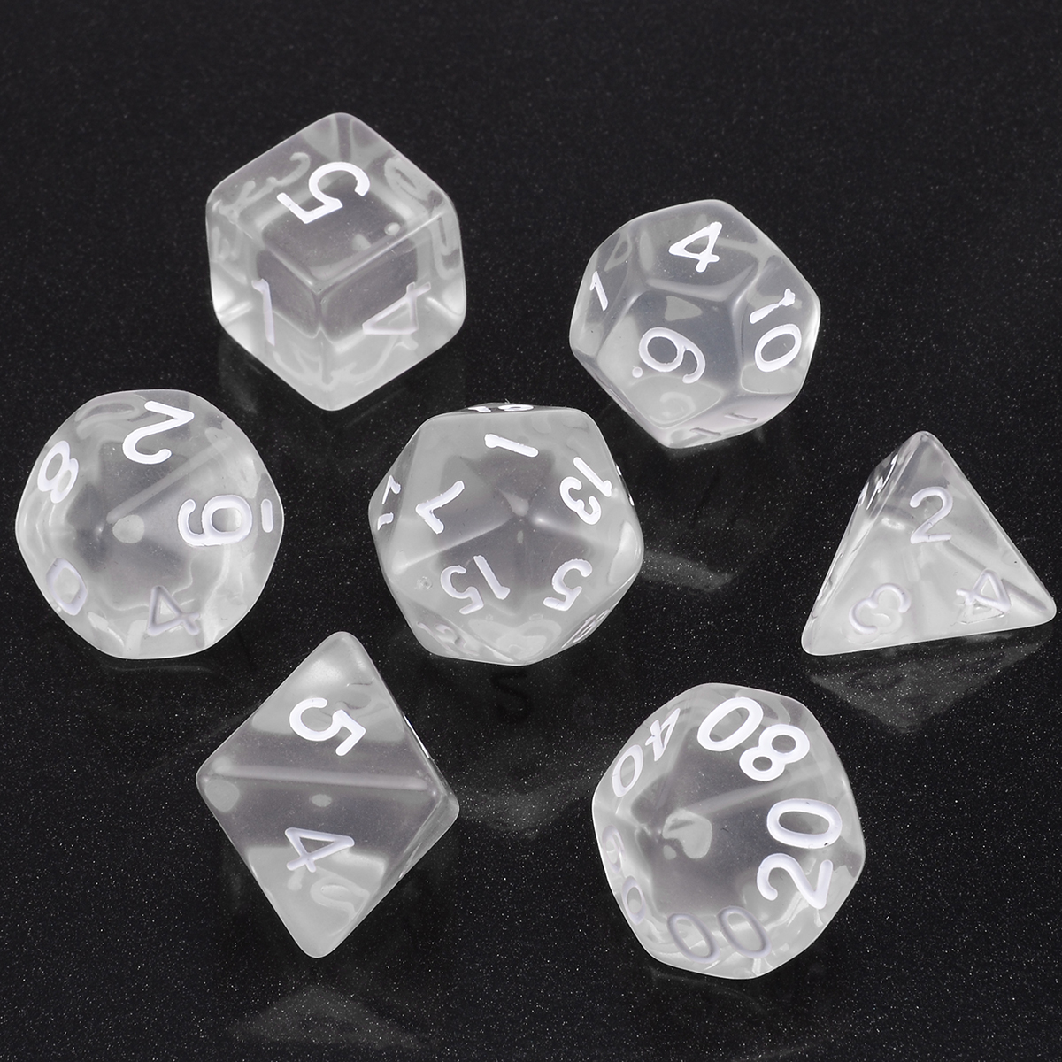 7pcs/lot White Polyhedral Transparent Dices Multi-side  With Cloth Bag For Gaming  Dungeons And Dragons RPG Game