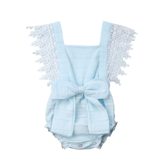4 color cute Newborn Baby Girl Lace Sleeveless Rompers Bow knot Jumpsuit for Newborn Infant Children Clothes Kid Clothing